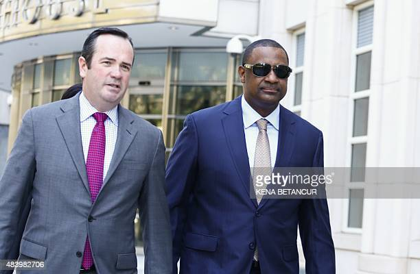 Jeffrey Webb former FIFA vice president leaves from his hearing at the Brooklyn Federal Courthouse in New York on August 14 2015 Webb pleaded not...
