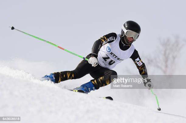 Jeffrey Webb of Malaysia competes in the men's alpine skiing giant slalom on day five of the 2017 Sapporo Asian Winter Games at Sapporo Teine on...
