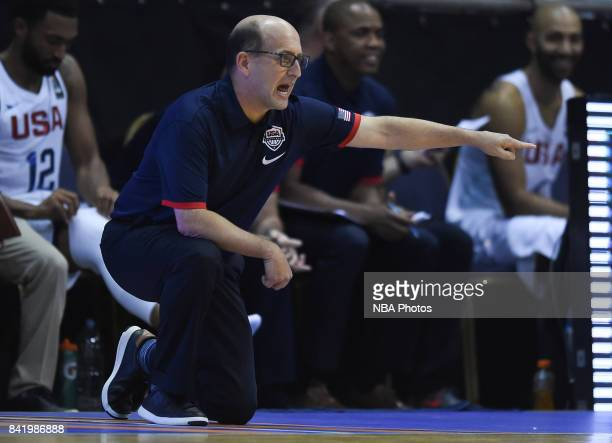 Jeffrey William Van Gundy coach of United States gestures during the FIBA Americup semi final match between US and Virgin Islands at Orfeo Superdomo...