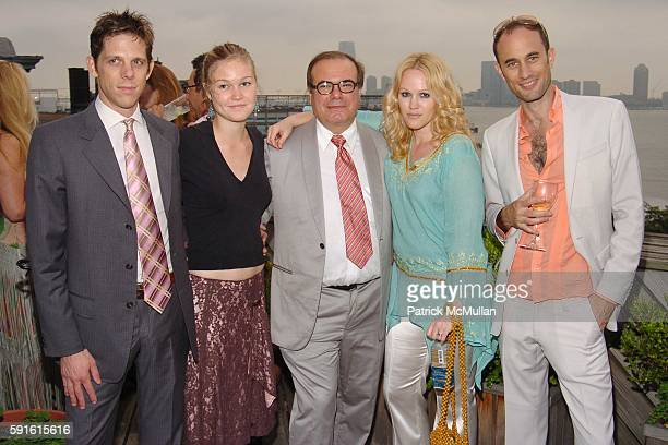 Jeffrey Witte Julia Stiles Hunt Slonem Laura Dawn and Andrew Boose attend Amendorg Founders' Dinner at Hunt Slonem Studio on June 30 2005 in New York...