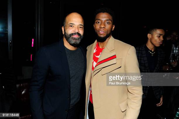 Jeffrey Wright and Chadwick Boseman attend The Cinema Society with Ravage Wines Synchrony host the after party for Marvel Studios' 'Black Panther' at...