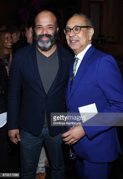 Jeffrey Wright and George C Wolfe attend the after party forThe Immortal Life of Henrietta Lacks premiere at TAO Downtown on April 18 2017 in New...