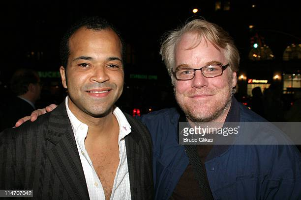 Jeffrey Wright and Philip Seymour Hoffman during Esquire Magazine Benefit to Support New Works at the Public Theater November 3 2005 at Esquire...