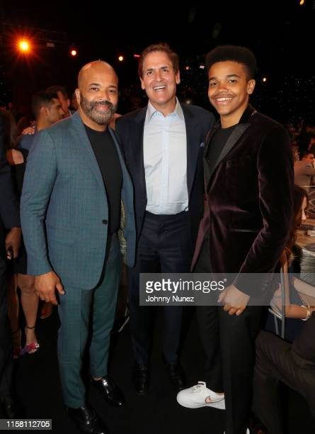 Jeffrey Wright Mark Cuban and Elijah Wright pose during the 2019 NBA Awards presented by Kia on TNT at Barker Hangar on June 24 2019 in Santa Monica...