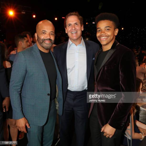 Jeffrey Wright Mark Cuban and Elijah Wright pose during the 2019 NBA Awards presented by Kia at Barker Hangar on June 24 2019 in Santa Monica...