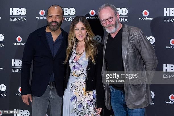 Jeffrey Wright Sarah Jessica Parker and Liam Cunningham attend HBO Spain presentation at Urso Hotel on December 15 2016 in Madrid Spain