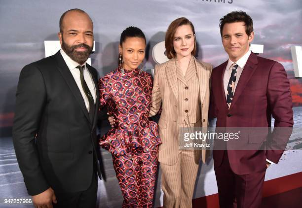 Jeffrey Wright Thandie Newton Evan Rachel Wood and James Marsden attends the Los Angeles Season 2 premiere of the HBO Drama Series WESTWORLD at The...