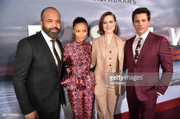 Jeffrey Wright Thandie Newton Evan Rachel Wood and James Marsden attend the Los Angeles Season 2 premiere of the HBO Drama Series WESTWORLD at The...