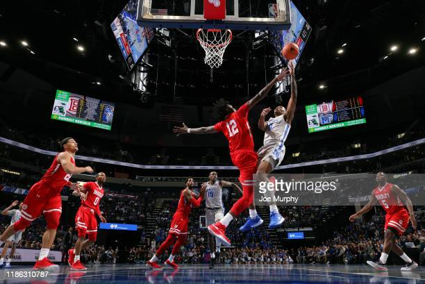 Jeffries of the Memphis Tigers shoots against Koch Bar of the Bradley Braves during a game on November 5, 2019 at FedExForum in Memphis, Tennessee....