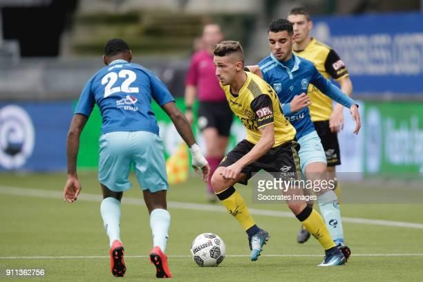 Jeffry Fortes of Excelsior Donis Avdijaj of Roda JC during the Dutch Eredivisie match between Roda JC v Excelsior at the Parkstad Limburg Stadium on...