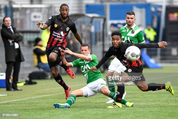 Jeffry Fortes of Excelsior Giovanni Korte of NAC Breda Lorenzo Burnet of Excelsior Rai Vloet of NAC Breda during the Dutch Eredivisie match between...