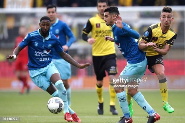 Jeffry Fortes of Excelsior Khalid Karami of Excelsior Donis Avdijaj of Roda JC during the Dutch Eredivisie match between Roda JC v Excelsior at the...