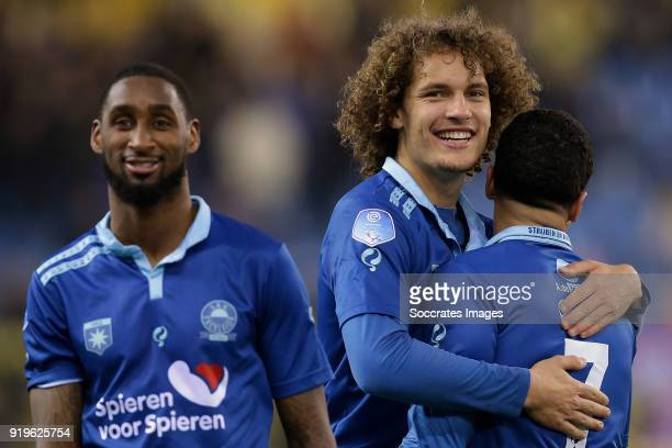 Jeffry Fortes of Excelsior Wout Faes of Excelsior Anouar Hadouir of Excelsior during the Dutch Eredivisie match between Vitesse v Excelsior at the...