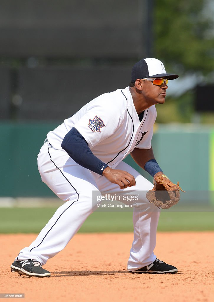 Jefry Marte #76 of the Detroit Tigers fields during the Spring Training game against the New York Mets at Joker Marchant Stadium on March 21, 2015 in Lakeland, Florida. The Tigers defeated the Mets 6-4.
