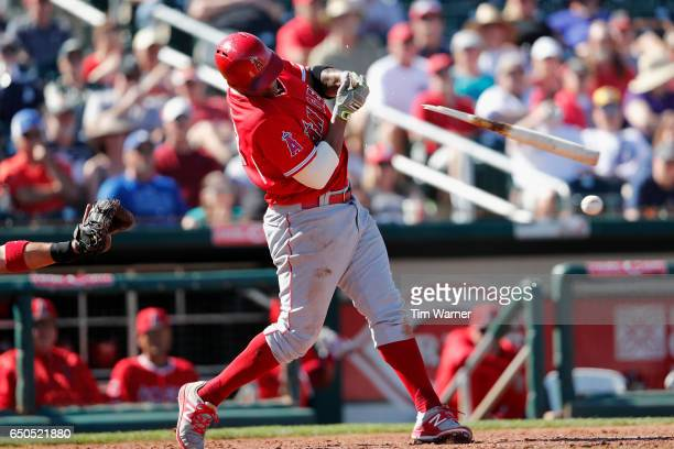 Jefry Marte of the Los Angeles Angels breaks in the sixth inning against the Cleveland Indians during the spring training game at Goodyear Ballpark...