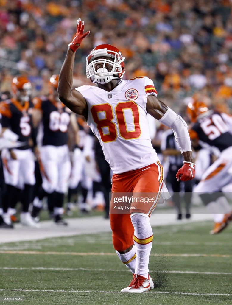 Jefu Chesson #80 of the Kansas City Chiefs celebrates after making a tackle against the Cincinnati Bengals during the preseason game at Paul Brown Stadium on August 19, 2017 in Cincinnati, Ohio.