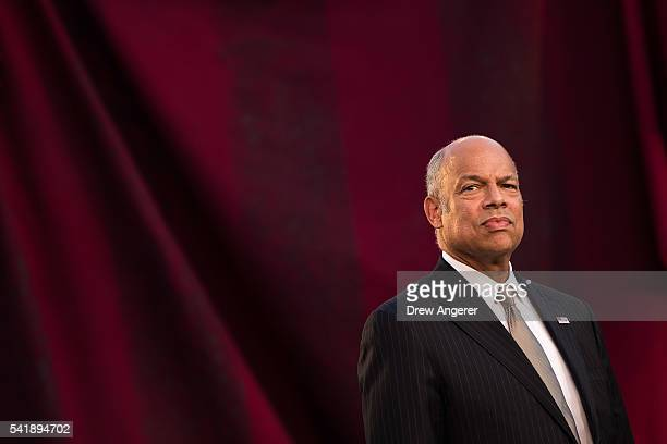 Jeh Johnson Secretary of the US Department of Homeland Security waits to swear in immigrants during a naturalization ceremony in at the Delacorte...