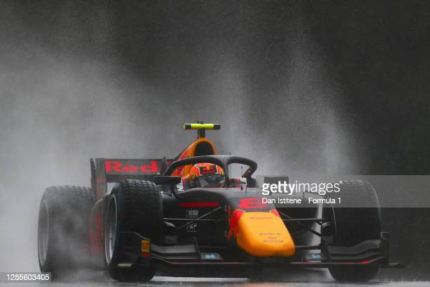 Jehan Daruvala of India and Carlin drives to the pit lane before the feature race for the Formula 2 Championship at Red Bull Ring on July 11, 2020 in...