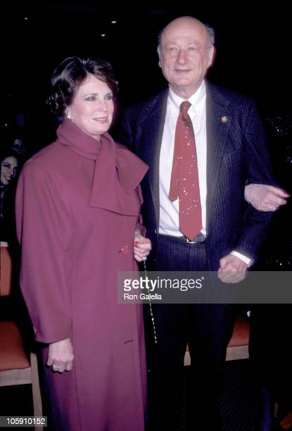 Jehan Sadat and Ed Koch during Woman of the Year Awards at United Nations Building in New York City New York United States