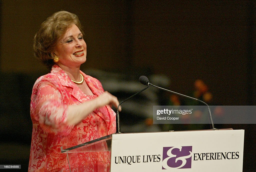 Jehan Sadat widow of Anwar Sadat speaking to the Unique Lives and Experiences at Roy Thomson Hall. A : News Photo