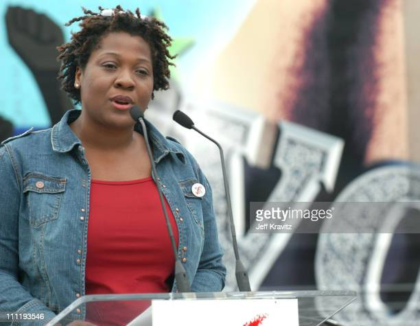Jehmu Greene president of Rock the Vote during Rock the Vote 2004 National Bus Tour Press Conference at Avalon Parking Lot in Hollywood California...