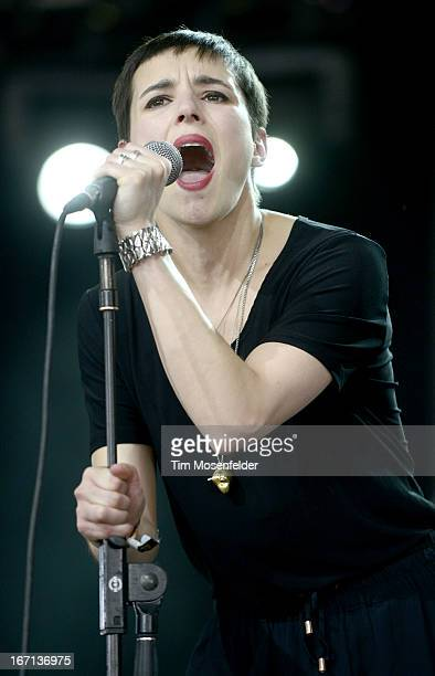 Jehnny Beth of Savages performs as part of the 2013 Coachella Valley Music & Arts Festival at the Empire Polo Field on April 20, 2013 in Indio,...