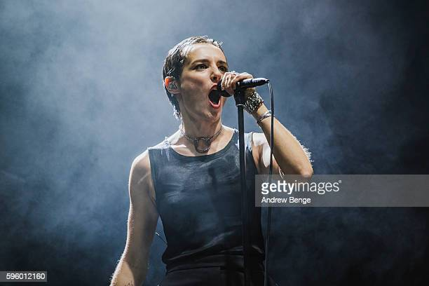 Jehnny Beth of Savages performs on the NME / BBC Radio 1 Stage during day 1 of Leeds Festival 2016 at Bramham Park on August 26, 2016 in Leeds,...