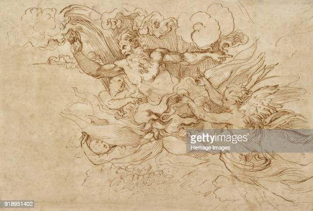 Jehovah in a flaming Cloud attended by Angels 16th century Verso Figure of Victory Dimensions height x width sheet 271 x 401 cm