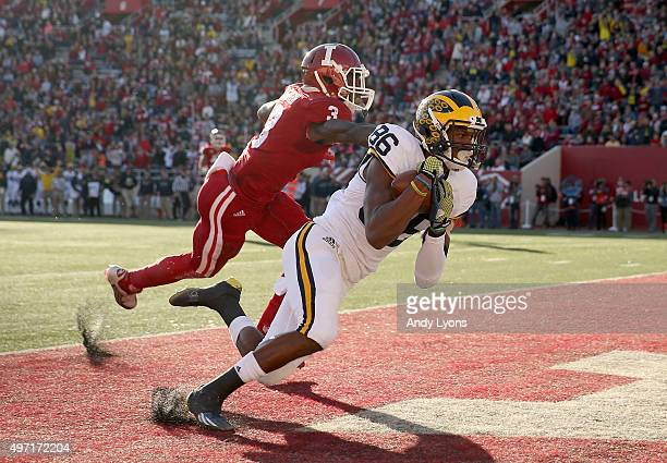Jehu Chesson of the Michigan Wolverines catches a pass for a touchdown against the Indiana Hoosiers at Memorial Stadium on November 14 2015 in...