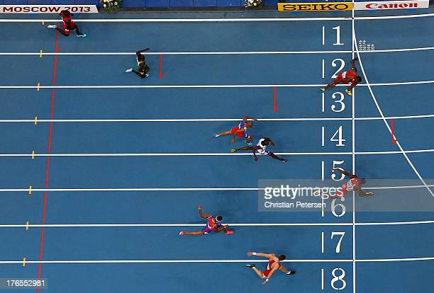 Jehue Gordon of Trinidad and Tobago crosses the line to win gold ahead of Michael Tinsley of the United States in the Men's 400 metres hurdles final...