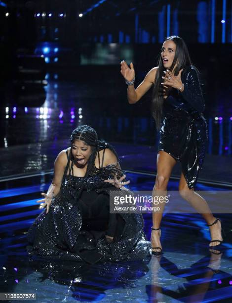 Jeidimar Rijos and Mayre Martínez are seen onstage as the winner of Telemundo's 'La Voz' Finale is announced at Cisneros Studios on April 21 2019 in...