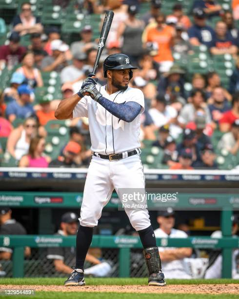 Jeimer Candelario of the Detroit Tigers at bat against the Minnesota Twins at Comerica Park on July 18, 2021 in Detroit, Michigan.
