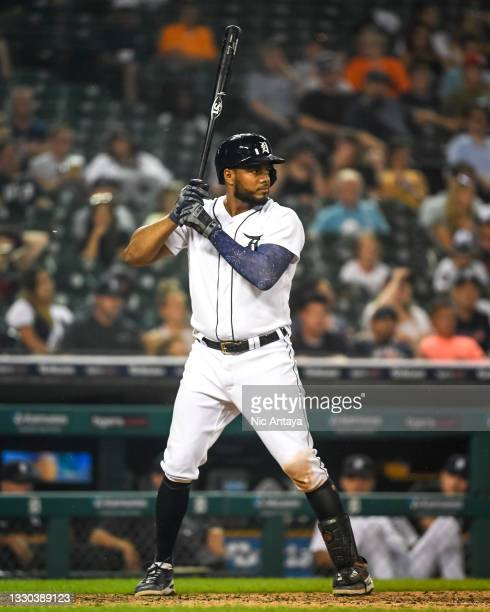 Jeimer Candelario of the Detroit Tigers at bat against the Texas Rangers at Comerica Park on July 19, 2021 in Detroit, Michigan.