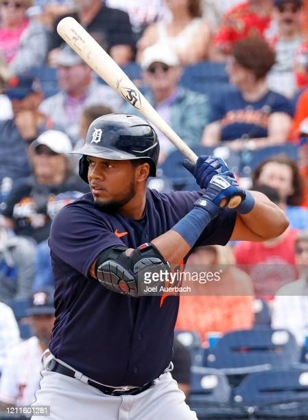 Jeimer Candelario of the Detroit Tigers bats against the Houston Astros during a spring training game at the FITTEAM Ballpark of the Palm Beaches on...