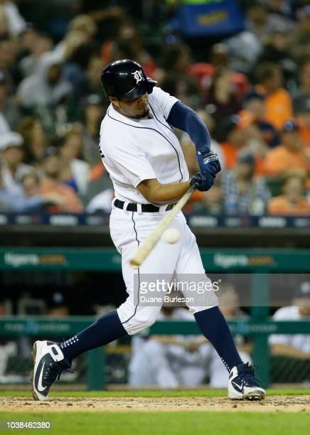 Jeimer Candelario of the Detroit Tigers bats against the Houston Astros at Comerica Park on September 11 2018 in Detroit Michigan