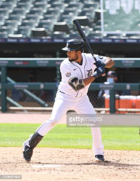 Jeimer Candelario of the Detroit Tigers bats during the game against the Minnesota Twins at Comerica Park on August 30, 2020 in Detroit, Michigan....