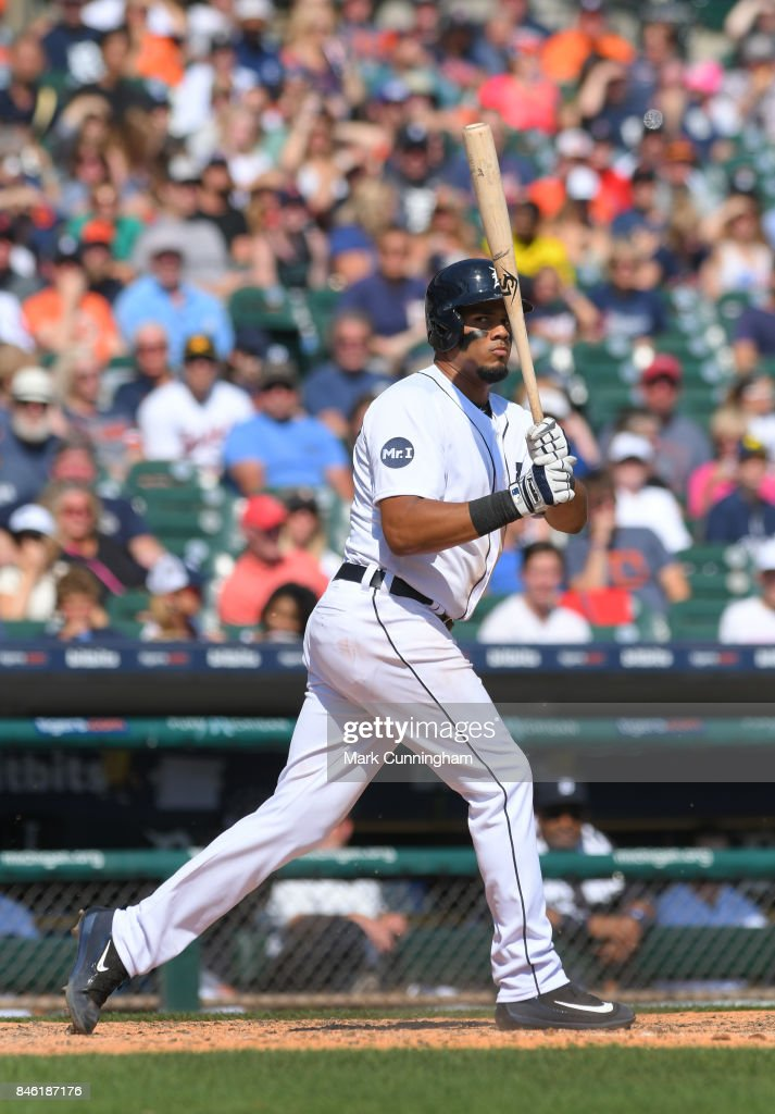 Jeimer Candelario #46 of the Detroit Tigers bats during the game against the Cleveland Indians at Comerica Park on September 3, 2017 in Detroit, Michigan. The Indians defeated the Tigers 11-1.