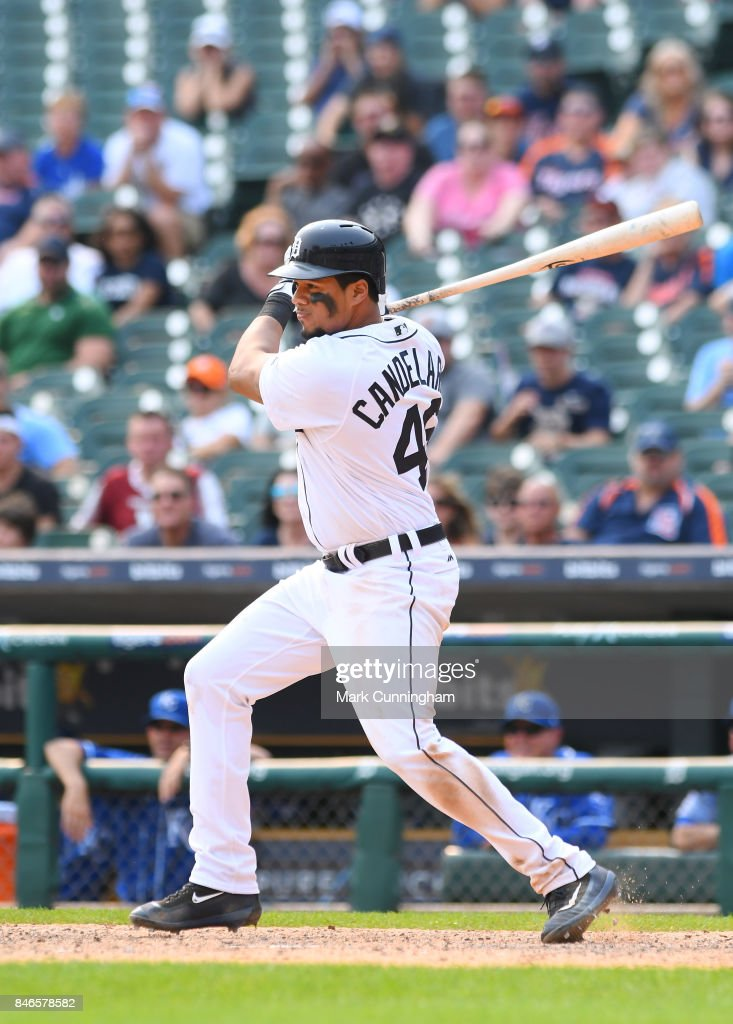 Jeimer Candelario #46 of the Detroit Tigers bats during the game against the Kansas City Royals at Comerica Park on September 4, 2017 in Detroit, Michigan. The Royals defeated the Tigers 7-6.