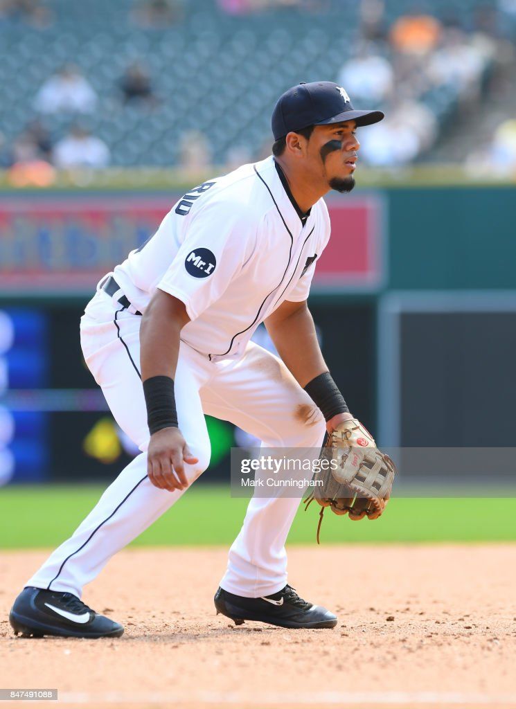 Jeimer Candelario #46 of the Detroit Tigers fields during the game against the Kansas City Royals at Comerica Park on September 4, 2017 in Detroit, Michigan. The Royals defeated the Tigers 7-6.