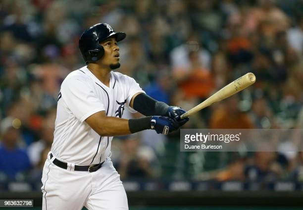 Jeimer Candelario of the Detroit Tigers hits a solo home run against the Los Angeles Angels of Anaheim during the sixth inning at Comerica Park on...