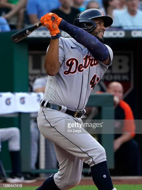 Jeimer Candelario of the Detroit Tigers hits a three-run home run in the third inning against the Kansas City Royals at Kauffman Stadium on July 24,...