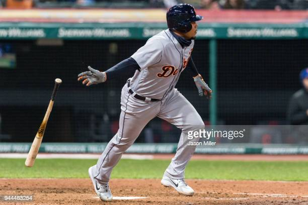 Jeimer Candelario of the Detroit Tigers hits an RBI double to tie the game during the seventh inning against the Cleveland Indians at Progressive...