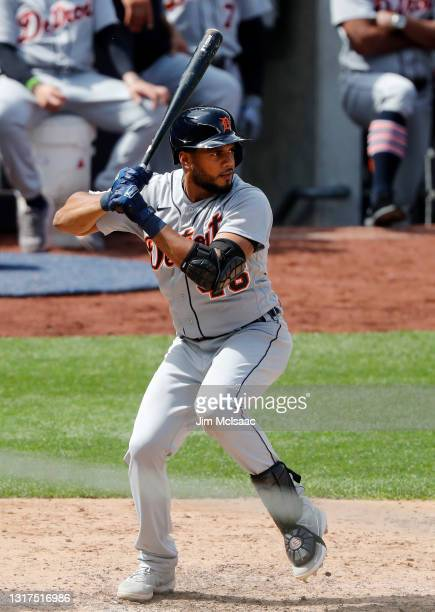 Jeimer Candelario of the Detroit Tigers in action against the New York Yankees at Yankee Stadium on May 02, 2021 in New York City. The Yankees...
