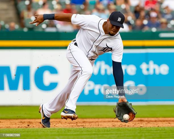 Jeimer Candelario of the Detroit Tigers makes a play on a ground ball in the fourth inning against the Toronto Blue Jays during a MLB game at...