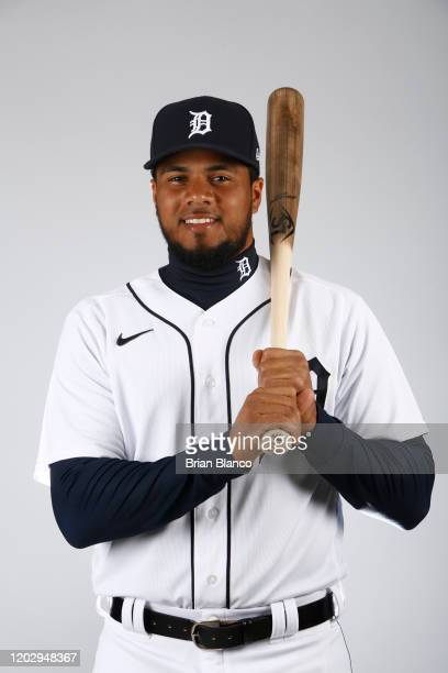 Jeimer Candelario of the Detroit Tigers poses for a photo during the Tigers' photo day on February 20, 2020 at Joker Marchant Stadium in Lakeland,...