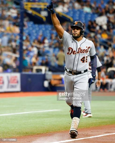 Jeimer Candelario of the Detroit Tigers reacts after hitting a three-run home run during the first inning against the Tampa Bay Rays at Tropicana...