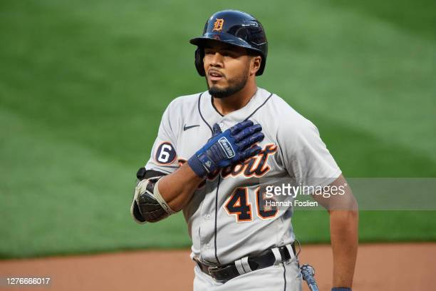 Jeimer Candelario of the Detroit Tigers reacts to an at bat against the Minnesota Twins during the game at Target Field on September 22, 2020 in...