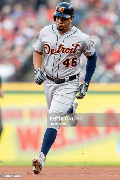 Jeimer Candelario of the Detroit Tigers rounds the bases on a solo home run during the first inning against the Cleveland Indians at Progressive...