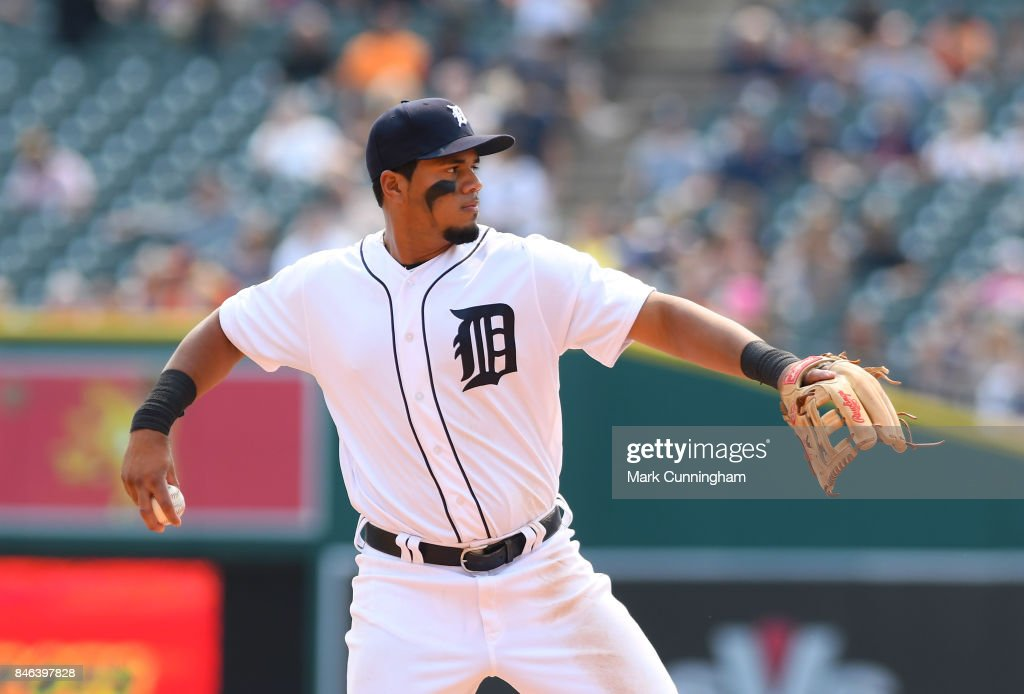 Jeimer Candelario #46 of the Detroit Tigers throws a baseball during the game against the Kansas City Royals at Comerica Park on September 4, 2017 in Detroit, Michigan. The Royals defeated the Tigers 7-6.