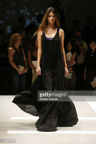 Jeisa Chiminazzo wearing DKNY Spring 2007 during Olympus Fashion Week Spring 2007 DKNY Runway at 711 Greenwich Street in New York City New York...